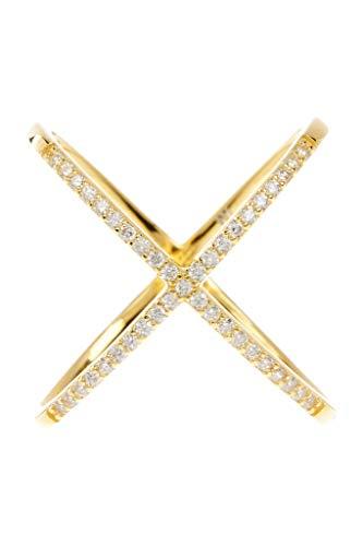 Sterling Forever 14K Gold Vermeil CZ Criss Cross Ring ()