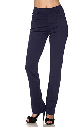 Dress Slacks Pants Blue Navy (2LUV Women's Stretch Solid Front Pocket Pull On Dress Pants with Belt Loop Navy L)