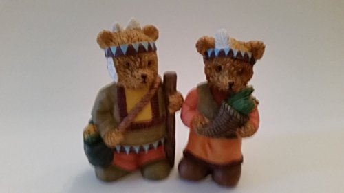 two cute pilgrim boy and girl teddy bear figurine! All dressed up for thanksgiving (Preowned)