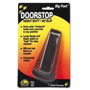 Master Caster Company Big Foot Doorstop, No-Slip Rubber Wedge, 2w x 4-3/4d x 1-1/4h, Brown (12 Units)