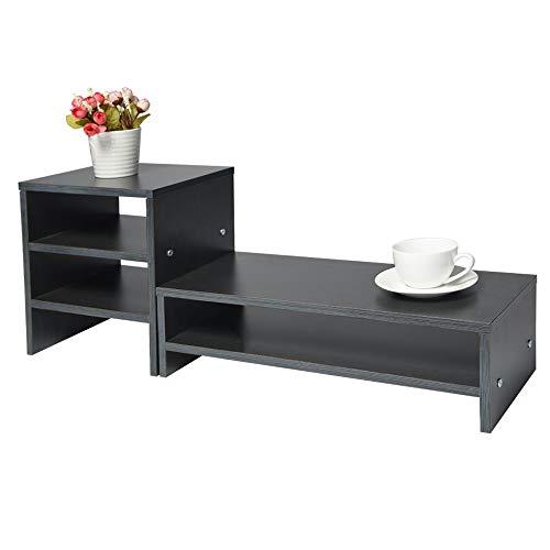 (Iusun Monitor Stand Computer Riser Display Height Laptop Cellphone TV Printer Stand Keyboard Storage Organizer 29.6 x 7.7 x 10.9Inch -Ship From USA (Black))