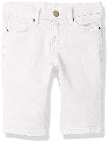(Calvin Klein Girls' Big Bermuda Stretch Twill Short, White, 7)
