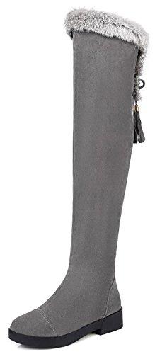 Easemax Women's Stylish Fluffy Fur Low Chunky Heel Round Toe Side Zipper Over Knee High Boots Grey ZNxGTm7w2U