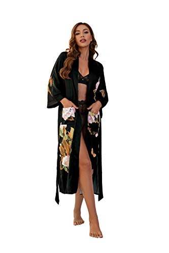 Meegsking Women's Kimono Robe Long Floral Satin Bathrobe Nightgown Bridesmaid Wedding Party Dressing Gown
