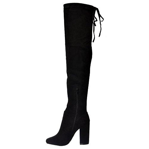 La Grey Suede Boot De Femmes Bloc Haut Au black Cuisse dessus Suede Onlineshoe Black Talon Genou 4qIBqR