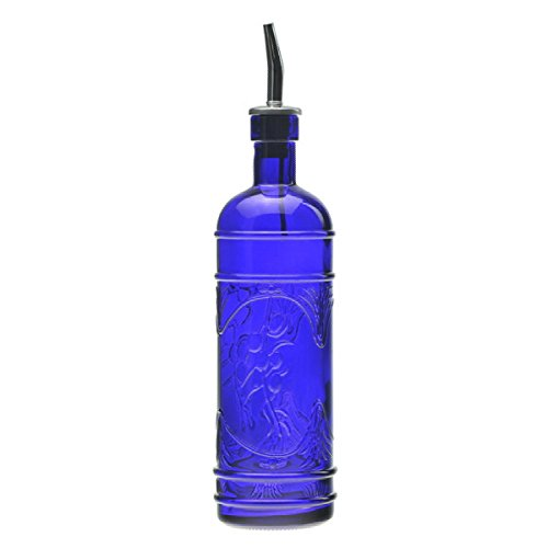 Retro Kitchen Olive Oil, Liquid Dish or Hand Soap Glass Bottle Dispenser ~ G181VF Cobalt Blue ~ Metal Pour Spout and Cork Included with Glass Bottle