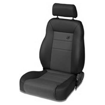 Bestop 39461-15 TrailMax II Pro Black Denim Front Vinyl with Fabric Insert High Back Driver-side Jeep Seat for 1976-2006 Jeep CJ and Wrangler
