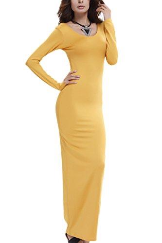 Damen Lange Ärmel Bodycon Lange Maxi Stift Partei Kleid Yellow ...