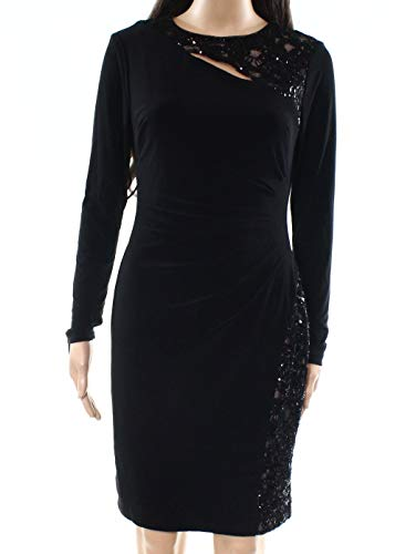 LAUREN RALPH LAUREN Womens Petites Jersey Sequin Cocktail Dress Black 0P