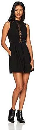 Speechless Junior's Mock Neck Crepe Skater Dress (Junior's) Solid Sleeveless Casual Night Out Dress