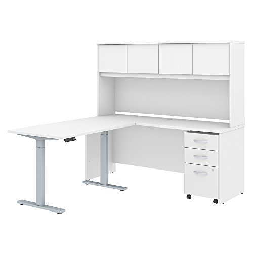 Studio C 72W x 24D L Shaped Desk with Hutch, 48W Height Adjustable Return and Storage in White