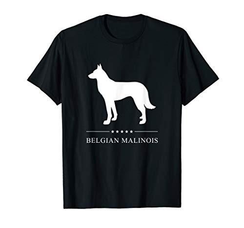 Belgian Malinois : White Silhouette T-Shirt (Malinois Silhouette)