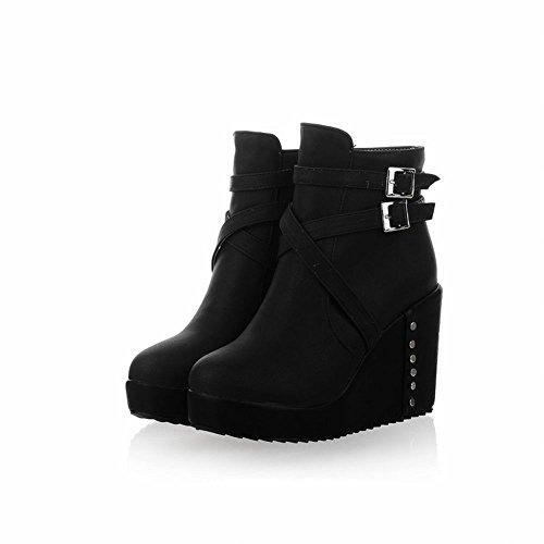 Carol Skor Elegans Womens Spänne Dragkedja Dubbade Mode Kilklack Kort Klänning Boots Svart
