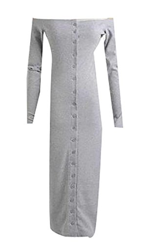 Knitted Bodycon Long Cruiize Shoulder Dress Gray Button Sleeve Womens Off wPnqT7F