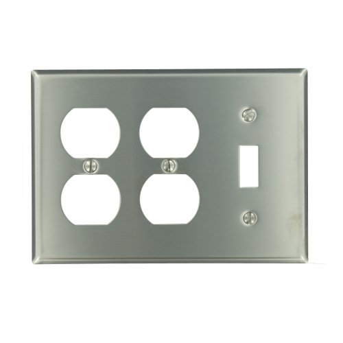 Leviton 84047-40 3-Gang 1-Toggle 2-Duplex Device Combination Wallplate, Device Mount, Stainless ()