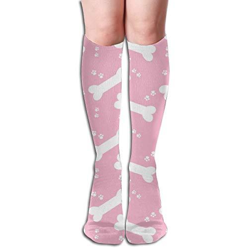 Doggie Treats Pink Unisex Comfortable Crew Socks Athletic Casual Sock Best for Running, Athletic Sports, Flight Travel