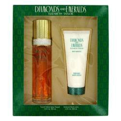 DIAMONDS & EMERALDS by Elizabeth Taylor Gift Set -- 3.3 oz Eau De Toilette Spray + 3.3 oz Body Lotion for - Elizabeth Taylor Rose Body Lotion