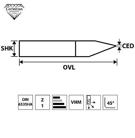 Holz Kunststoff CNC Gravur Platinen Leiterplatte PCB Fr/äsen 10 Grad /Ø 3,175mm Gravieren von Metall Corintian VHM Gravierstichel Gravurstichel