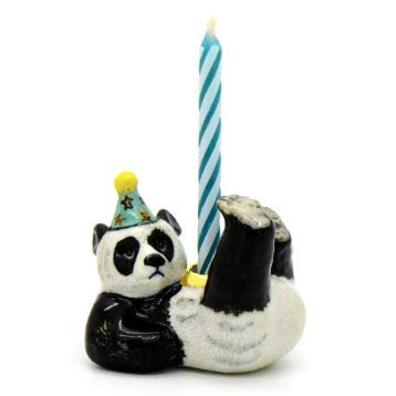 CampHollow Panda Party Animal Candle Holder Cake Topper Hand Painted Porcelain Birthday Supplies Ceramic Animal Panda Bear