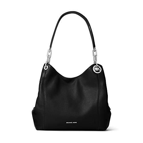 Michael Kors Black Fulton charm Leather Bag Hobo Silver New ()