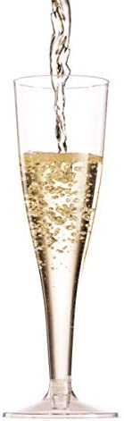 100 Pack Plastic Champagne Flutes 5 Oz Clear Plastic Toasting Glasses Disposable Wedding Thanksgiving Party Cocktail Cups 6