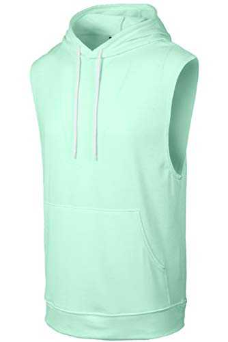 JC DISTRO Mens Hipster Hip Hop Active Lightweight Sleeveless Mint Hoodie X-Large by JC DISTRO