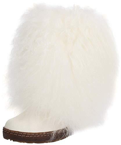 BEARPAW Women's White Boetis II 6 B(M) - Wool Coat Fur Trimmed
