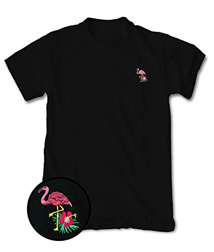 Riot Society Flamingo Hibiscus Embroidered Mens T-Shirt - Black, (Embroidered Flamingo)