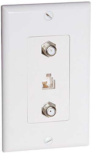 Morris 85231 Decorative Dual F Connector and Single RJ11 4 Conductor Phone Jack Wall Plate, 2 Piece, White