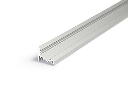 1m Eck Aluprofil CORNER (CO) 1 Meter Aluminium Profil-Leiste eloxiert für LED Streifen - Set inkl Abdeckung-Schiene (Click) milchig-weiß (opal) mit Montage-Klammern und Endkappen