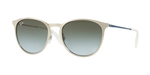 Ray-Ban Erika Metal Round Sunglasses, Brusched Silver, 54 - Silver Erika