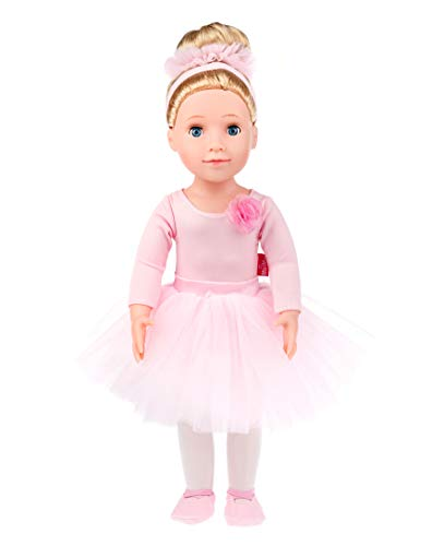 MeiMei 18 inch Doll Girl Ballet Bunny Toy Outfit Eyes Can Open & Close Toddler Dolls for Kids 3+ Adorable in Gift Box (American Girl Doll Knockoff)