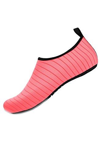 Chaussettes Chaussures Eau Surf Aqua Nus Pieds Vite Sèche 14 Femmes Yacun Hommes Rose p4q800