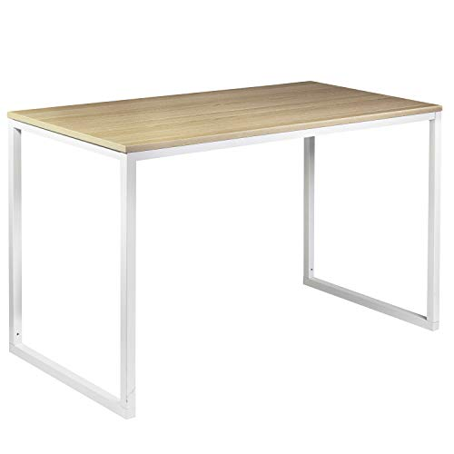 Halter Modern Computer Desk – 47 Writing Study Table Home Office Desk – Modern Style Workstation for All Purposes – White