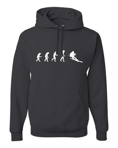 ShirtLoco Men's Evolution Of Man To Skier Hoodie Sweatshirt, Charcoal Large