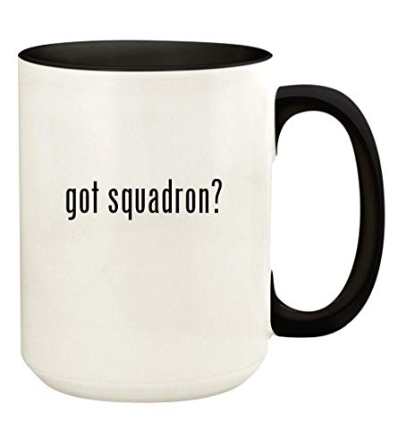 got squadron? - 15oz Ceramic Colored Handle and Inside Coffee Mug Cup, Black