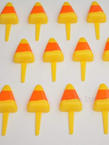12 Candy Corn Cupcake Pic Pick Decor Food Topper Halloween Party Supply