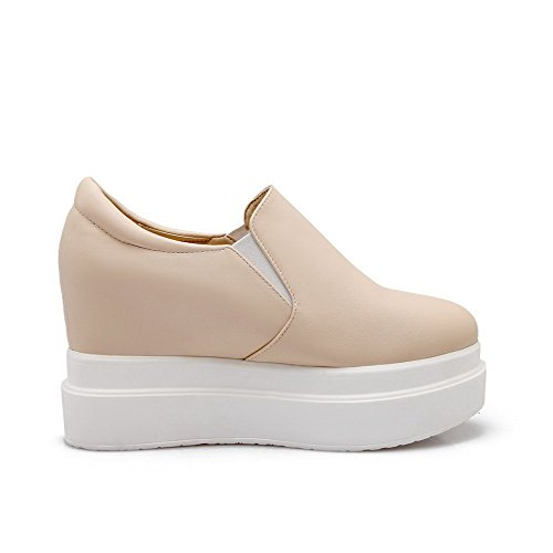 Amoonyfashion Mujeres Pu Solid Pull-on Round Closed Toe Tacones Altos Bombas-zapatos Beige