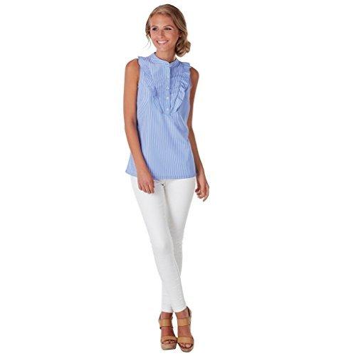 Mud Pie Womens Carrie Ruffle Summer Top, Light Blue & White Stripe, Size Medium