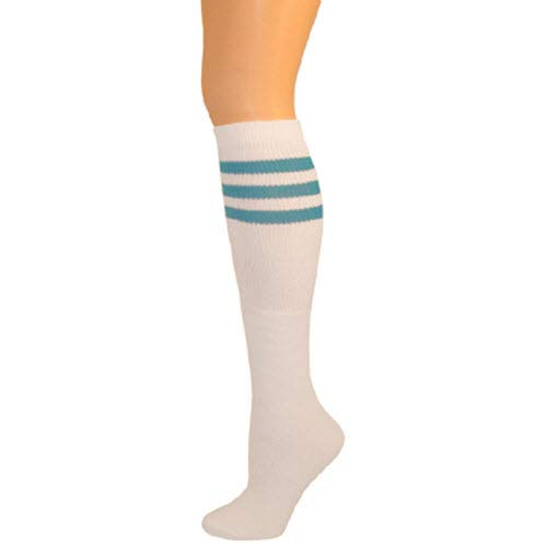 (AJs Classic Triple Stripes Retro Knee High Tube Socks - White, Turquoise, Sock size 11-13, Shoe Size 5 and up)