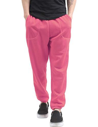 Hat and Beyond Mens Fleece Sweatpants Lightweight Elastic Jogger Loss Fit Drawstring Pants (1ih02_hot Pink,X-Large)