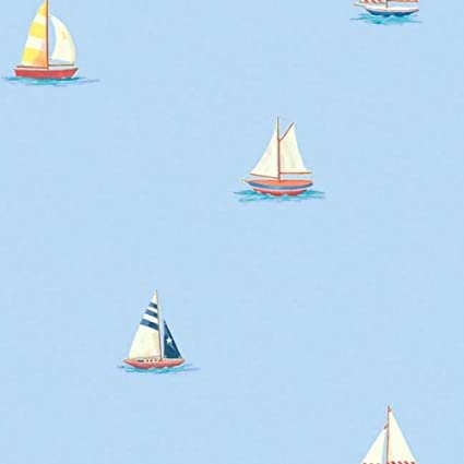 Blue Sailboats Nautical Sailing Accent Decor Wallpaper Roll: Amazon.co.uk: Kitchen & Home