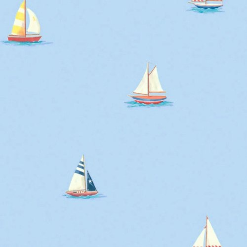 Blue Sailboats Nautical Sailing Accent Decor Wallpaper Roll Amazoncouk Kitchen Home