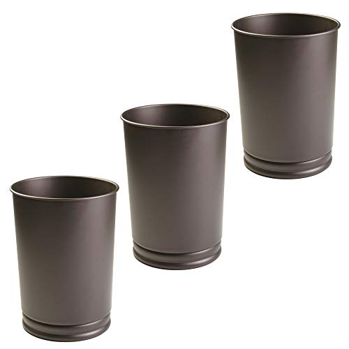Bronze Dark Finish - mDesign Round Metal Small Trash Can Wastebasket, Garbage Container Bin for Bathrooms, Powder Rooms, Kitchens, Home Offices - Pack of 3, Durable Steel Construction with a Bronze Finish