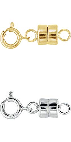 1 - New Solid 14k Yellow Gold and 1 - New Solid .925 Sterling Silver Barrel Magnetic Converter Necklace Clasps - Jewelry by Sweetpea