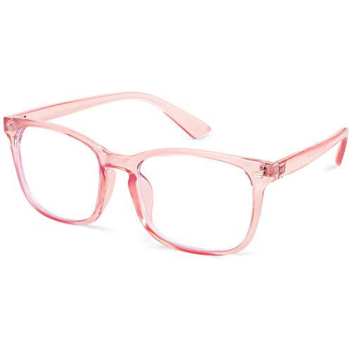 EOSNEIK Blue Light Blocking Glasses for Men Women, Anti Eyestrain Lightweight Computer Cellphone Reading Gaming Glasses (Pink)