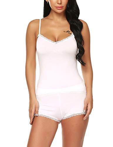(URRU Women's Lace Cotton Sleepwear Cami Top and Shorts Pajama Set White L)