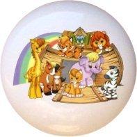 Ceramic Knob - Ark with Animals - Noah's Ark - Noahs Ark Knob
