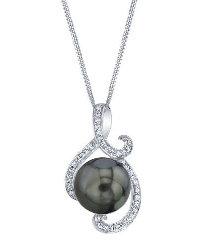THE PEARL SOURCE 10-11mm Genuine Black Tahitian Cultured Pearl & Cubic Zirconia Signature Pendant Necklace for Women ()