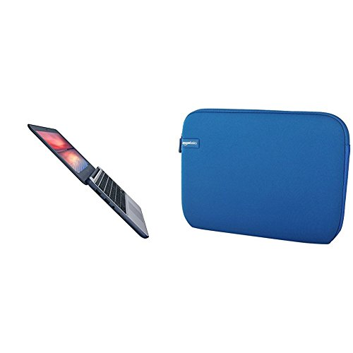 "Price comparison product image ASUS Chromebook C202SA-YS02 11.6"" Ruggedized and Water Resistant Design with 180 Degree (Intel Celeron 4 GB, 16GB eMMC, Dark Blue) with AmazonBasics 11.6-Inch Laptop Sleeve - Blue bundle"
